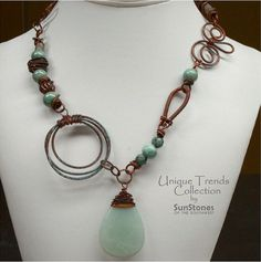 Funky Copper Necklace with Gemstones by SunStones on Etsy, $50.00