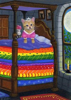Kitten cat princess and the pea moon fairy tale original aceo painting art #Realism B. Voth