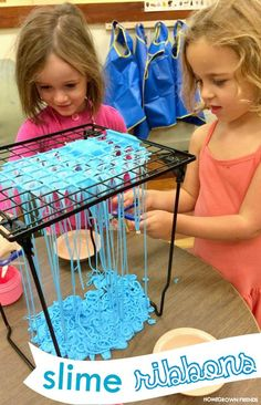 Our favorite way to explore homemade slime and practice scissor skills.