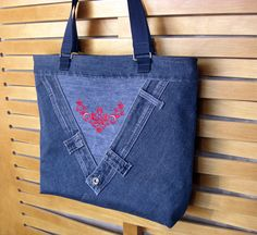 Denim bag Flower red machine embroidery Handbags For women