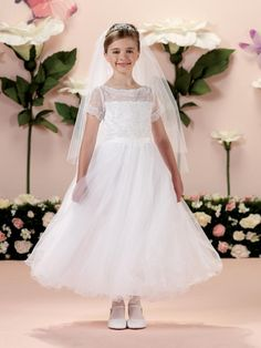 CDE Girls Lace Boho A-Line Flower Dress Holy First Communion Gowns