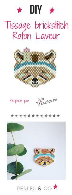 Voici un nouveau tutoriel tissage en brickstitch de perles Miyuki proposé par Emmanuelle alias Rose Moustache ! Il s'agit d'un  joli raton laveur dans un esprit indien. La grille de tissage est dispo sur le site.