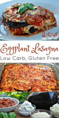 Eggplant Lasagna with Meat Sauce – Low Carb, Gluten Free via @PeaceLoveLoCarb