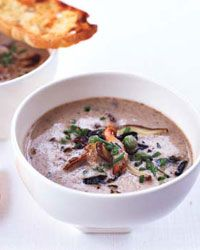 Wild Mushroom Soup with Parmesan Toasts | Chicken broth adds terrific flavor to this hearty mushroom soup.