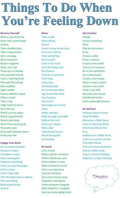 #positivethinking Coping skills - things to do when you're feeling down http://www.positivewordsthatstartwith.com/