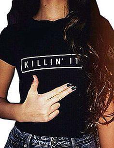 Feminino+Camiseta+Casual+Simples+Verão,Letra+Algodão+Decote+Redondo+Manga+Curta+Fina+–+BRL+R$+16,61