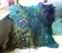 Gallery of Fiber Art — Beverly Ash Gilbert Wet Felting Projects, Felting Tutorials, Felt Projects, Felt Cushion, Felt Pillow, Felt Pictures, Fabric Pictures, Nuno Felting, Needle Felting