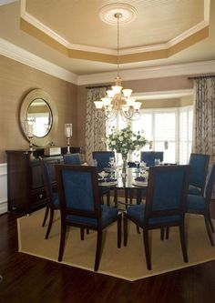 Beadboard ceiling, drapery treatment and round table #coffinceiling #vaultedceiling #diningroom