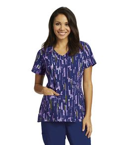 c7cd8f752d3 GREY'S ANATOMY SIGNATURE ABSTRACT BLOCKS 3 PKT SHAPED V-NECK FITTED BK