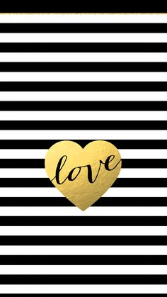 Gold Black White Stripe Love Heart