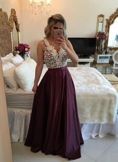 Burgundy Button Back Lace Long Prom Dress,Cheap Prom