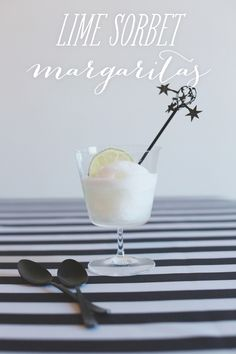 Lime Sorbet Margarita Recipe - the perfect accompaniment to a Super Bowl Fiesta! Photography By / http://hellolovephoto.com,Stying By / http://stylemepretty.com