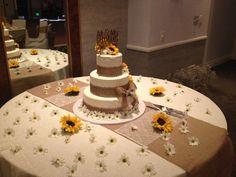 Burlap cake with sunflowers!