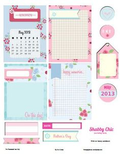 """Free Printable Download   Shabby Chic Journaling Elements...This freebie""""Shabby Chic Journaling Elements"""" blends a lot of shabby chic design elements such as roses,  soft colors of teal blue and pink  and  other floral patterns in  a great printout to honor all of our great Moms.."""