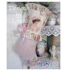 A Beautiful Christmas Stocking 423 Edwardian Lady Pink Roses By Lynn-pink, roses, shabby, chic, ruffles, Victorian, Vintage, Lynn, Barkcloth, PINK, cottage, white, Brundage,Stocking, jewels,
