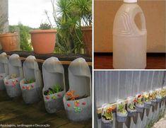 Riciclare dei flaconi di detersivo e trasformarli in bellissime fioriere da parete