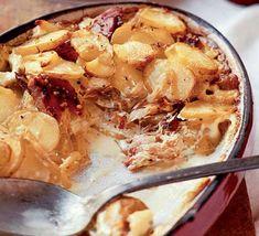 Peppered mackerel & potato bake recipe - Recipes - BBC Good Food. Swap the double cream for crème fraiche to make it low fat.