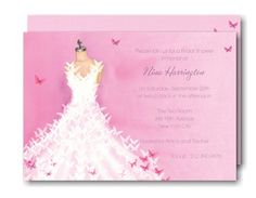 Butterfly Dress Bridal Shower Invitation