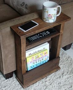 Rustic Wooden Sofa Chair Arm Rest  Side Table Stand with Shelf and Storage Pocket