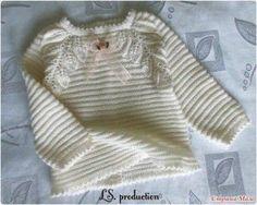 Белая кофточка с листиками (Вязание спицами)