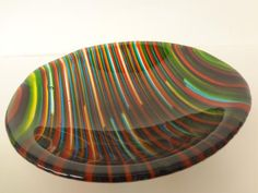 Harlequin Stripes - A thick green,blue,red,yellow, and clear fused glass bowl.