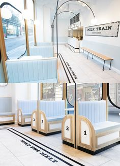 FormRoom For Milk Train   Ice-cream Shop Interior Design   Cafe Design   A Playful Dream-Like Interior Inspired by The Art Deco Movement Popularized Amongst Traditional Train Stations and Platform Iconography.     #milktrain #icecreamshop #icecreamstore #cafedesign #cafe #retailinteriordesign #interiordesign #branddesign #designinspiration #retaildesign #interiorarchitecture #visualmerchandising #storedesign #playfuldesign #shopdesign