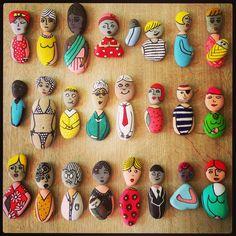 My version of pebble pals! My version of pebble pals! Stone Crafts, Rock Crafts, Diy And Crafts, Crafts For Kids, Arts And Crafts, Pebble Painting, Pebble Art, Stone Painting, Diy Painting