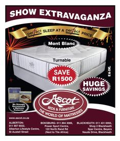 Furniture & Bed Promotions & Specials from Ascot bedding - Beds for Sale South Africa, Johannesburg branches Boksburg and Alberton both have a range of quality beds at affordable prices. Bed sale: king size, queen beds, double beds & beds for sale. Mattress World, Bed Mattress, Furniture Deals, Bed Furniture, 3/4 Beds, Beds For Sale, Mattress Protector, Ascot, Promotion