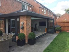 This orangery was installed at a customers home so that they had a living area attached onto their kitchen. House Extension Plans, House Extension Design, Living Room Extension Ideas, Rear Extension, Garden Room Extensions, House Extensions, Bungalow Extensions, Kitchen Orangery, Orangery Roof