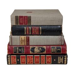 Set of Red Black & Gold Old Books for Decor Book Gifts
