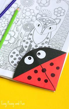 Ladybug Corner Bookmark – Origami for Kids (easy crafts for kids bookmarks) Origami Bookmark, Corner Bookmarks, Bookmarks Kids, Handmade Bookmarks, Origami Love, Origami Design, Origami Paper, Dollar Origami, Oragami