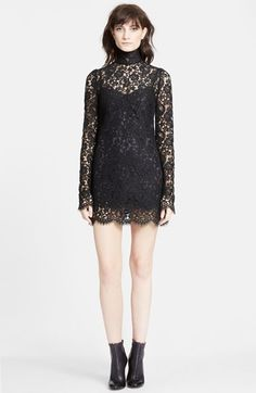 Dolce&Gabbana Stand Collar Lace Minidress available at #Nordstrom