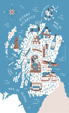 Illustrated map to accompany an article on Scottish distilleries, with a few tourist attractions grown in for good measure. I particularly liked the bizarre William Wallace statue that until recently stood at the foot of a visitor center car park near Sti…