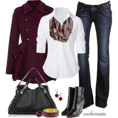 Nice but casual outfit. White buttoned shirt with mute colored scarf and dark blue jeans. Black short boots and black purse. This can definitely work for pairing this outfit with nice black or gray pant to go to work in. Beauty And Fashion, Look Fashion, Passion For Fashion, Fashion Outfits, Womens Fashion, Classy Outfits, Casual Outfits, Cute Outfits, Fall Winter Outfits