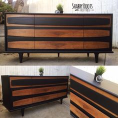 Shabby roots boutique mcm mid century modern dresser up cycle using general finishes milk paint lamp black