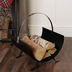 Contemporary Modern Fireside Log Store Companion - Sleek Matt Black Metal Crescent Design - Perfect Fireplace / Mantelpiece Accessory With Sturdy Chrome Carrying Handle - cm Indoor Log Storage, Log Store, Chrome Handles, Black Metal, Modern Contemporary, Lounge, Fireplaces, Winter, Room
