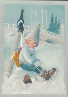 Thank you Kaarina Toivanen Winter Illustration, Christmas Illustration, Cute Illustration, Vintage Christmas Cards, Christmas Pictures, Christmas Clipart, Skating Pictures, Skate Art, Funny Drawings