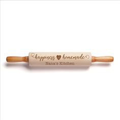 """Nothing says happiness like homemade cookies! Our personalized rolling pin is perfect for whipping up sweets and treats with the endearing engraved message, """"happiness is homemade."""" Made from waxed, hardwood barrels, this rolling pin comes with a full-len Personalized Gifts For Her, Personalized Cutting Board, Thanksgiving Day Football, Grandparents Day Gifts, Thoughtful Christmas Gifts, Gifts For Cooks, Hostess Gifts, Homemade Gifts, Crafts To Sell"""