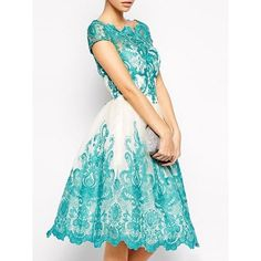 Elegant Round Neck Falbala Assorted Colors Lace Skater-dress ($20) ❤ liked on Polyvore featuring dresses, lace dress, round neckline dress, skater dress, lacy dress and lace skater dress