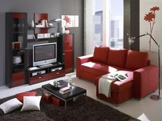 red living room ideas with carpet and tv - Red And Black Living Room