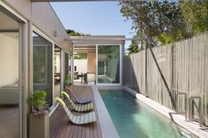 Even in small spaces it is possible to build a modern and pleasant small pool for residents. To solve this problem requires good planning, tricks rega. Outdoor Spaces, Outdoor Living, Outdoor Decor, Outdoor Swimming Pool, Swimming Pools, Small Pool Design, Pool Landscape Design, Backyard Renovations, Small Pools