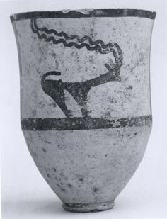 Cup decorated with horned animals  Period:Chalcolithic Date:ca. early 4th millennium B.C. Geography:Central Iran Medium:Ceramic, paint Dimensions:4.62 in. (11.73 cm) Classification:Ceramics-Vessels