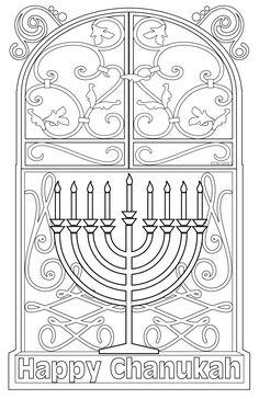 JEWISH COLORING PAGE HANUKKAH POSTCARD MENORAH CHANUKKAH