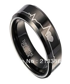 FREE SHIPPING!USA WHOLESALES CHEAP PRICE BRAZIL RUSSIA CANADA UK HOT SELLING 8MM BLACK HEART BEAT MEN'S TUNGSTEN WEDDING RING