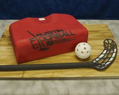 Birthday cake for a friend who plays floorball. Cake board is covered in fondant, etched to mark the wood boards, then painted with a mixtu. Hockey Cakes, Cake Board, Birthday Cake, Birthday Ideas, Food Coloring, Vodka, Fondant, Wood Boards, Plays