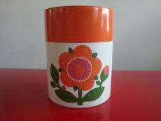 Retro Orange Flower Flour Canister by PlayfullyVintage on Etsy,