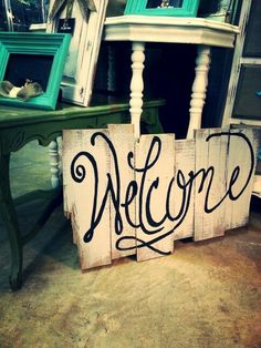 Welcome sign made from pallet wood pallet projects wood pall Pallet Crafts, Pallet Art, Pallet Signs, Wood Crafts, Diy Crafts, Pallet Ideas, Pallet Letters, Wood Ideas, Art Ideas