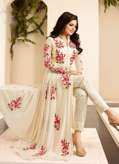 Cream and Pink LT86003 Georgette Designer Party Wear Anarkali Suit AT ZIkimo
