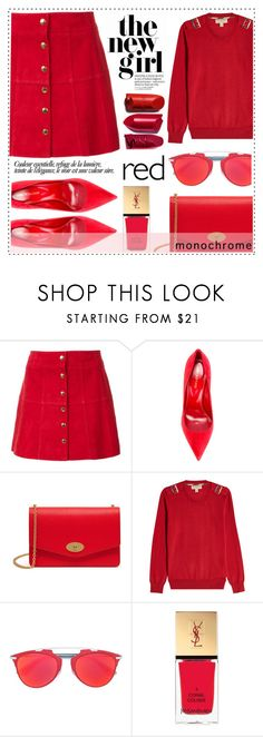 """""""One Color, Head to Toe"""" by alaria ❤ liked on Polyvore featuring Ines de la Fressange, Sergio Rossi, Mulberry, Burberry, Christian Dior, Yves Saint Laurent, monochrome and red"""