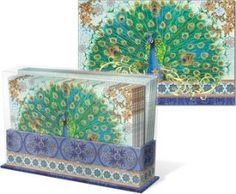 Amazon.com: Punch Studio Royal Peacock Desk Caddy Note Cards Set of 20: Office Products